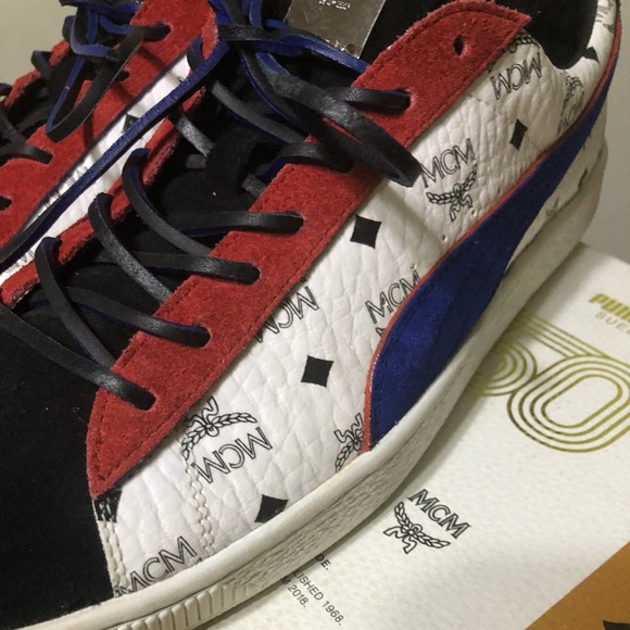 MCM X PUMA Suede Red White Blue Suede Size 11 NWT